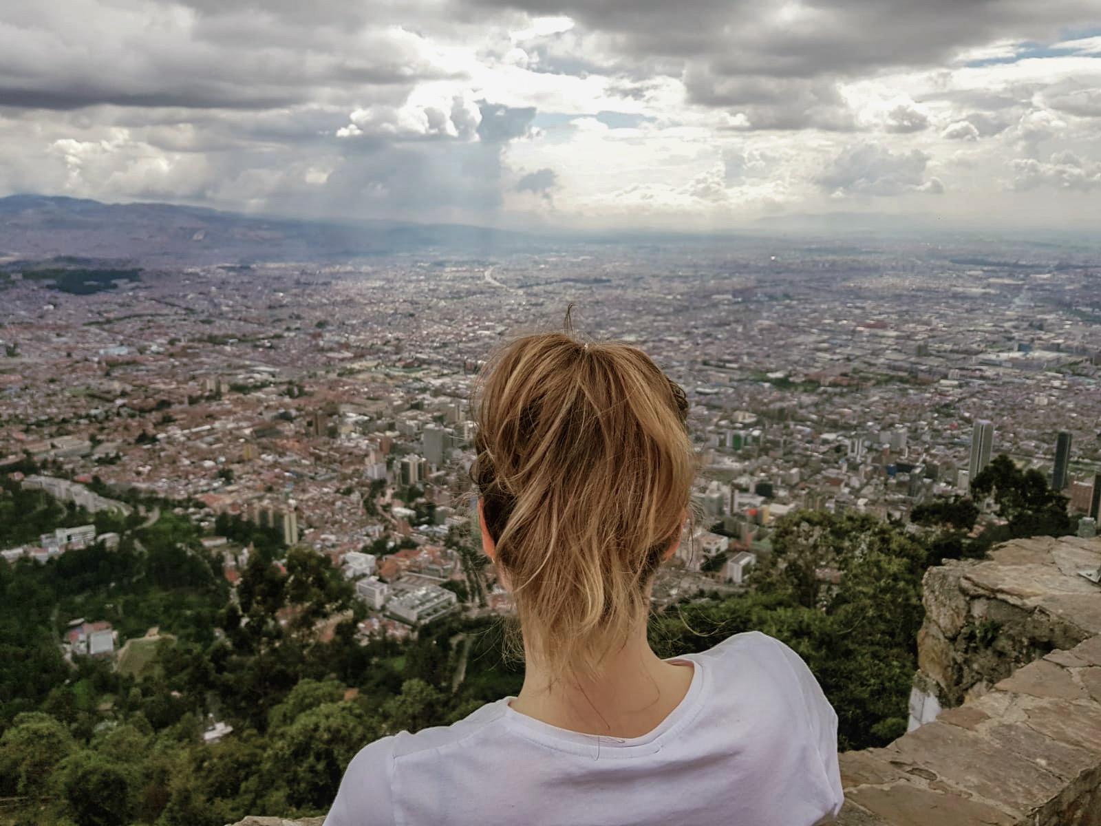 Bogotá, girl looks over the beautiful city