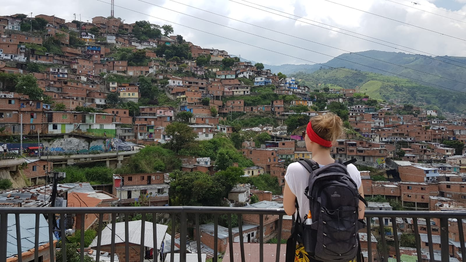 woman looking at medelling colombia